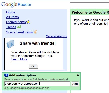Google reader front page.