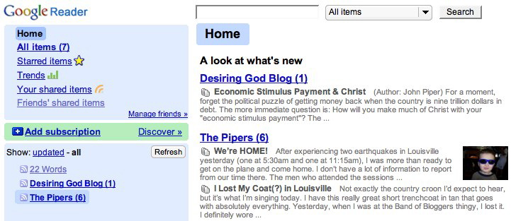 Google Reader reading options