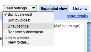 Google Reader unsubscribe.