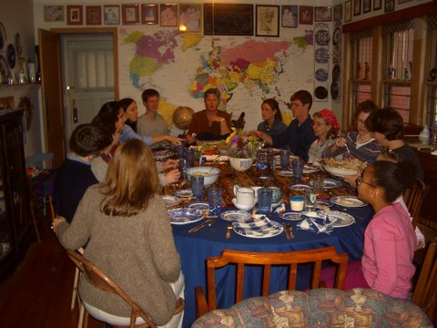 Pipers and friends around the Thanksgiving table.