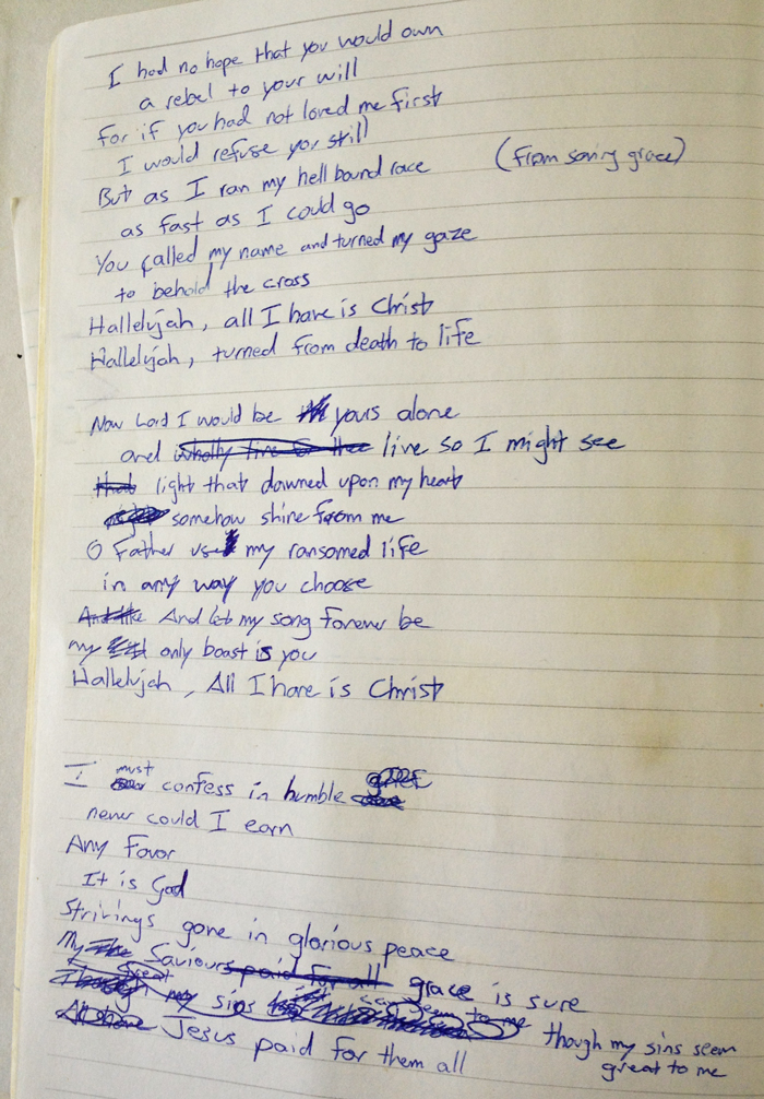 All I Have Is Christ handwritten lyrics