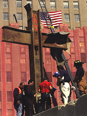 An iron cross composed of steel girders that stood out among the rubble of the World Trade Center towers.
